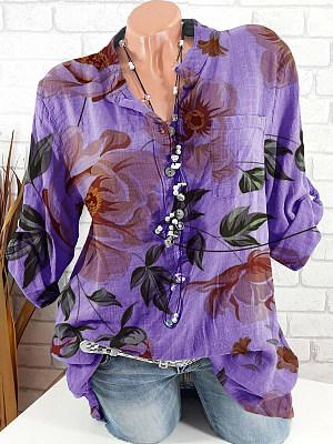 Band Collar Floral Print Long Sleeve Blouse, 24565717