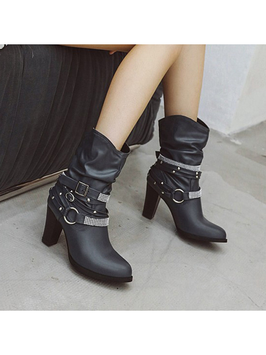 Fashion ladies belt buckle thick heel large size ankle boots - from $34.95