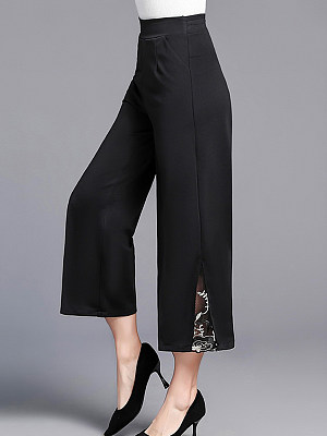 Berrylook coupon: Casual Lace Stitching Stretch Wide-leg Pants