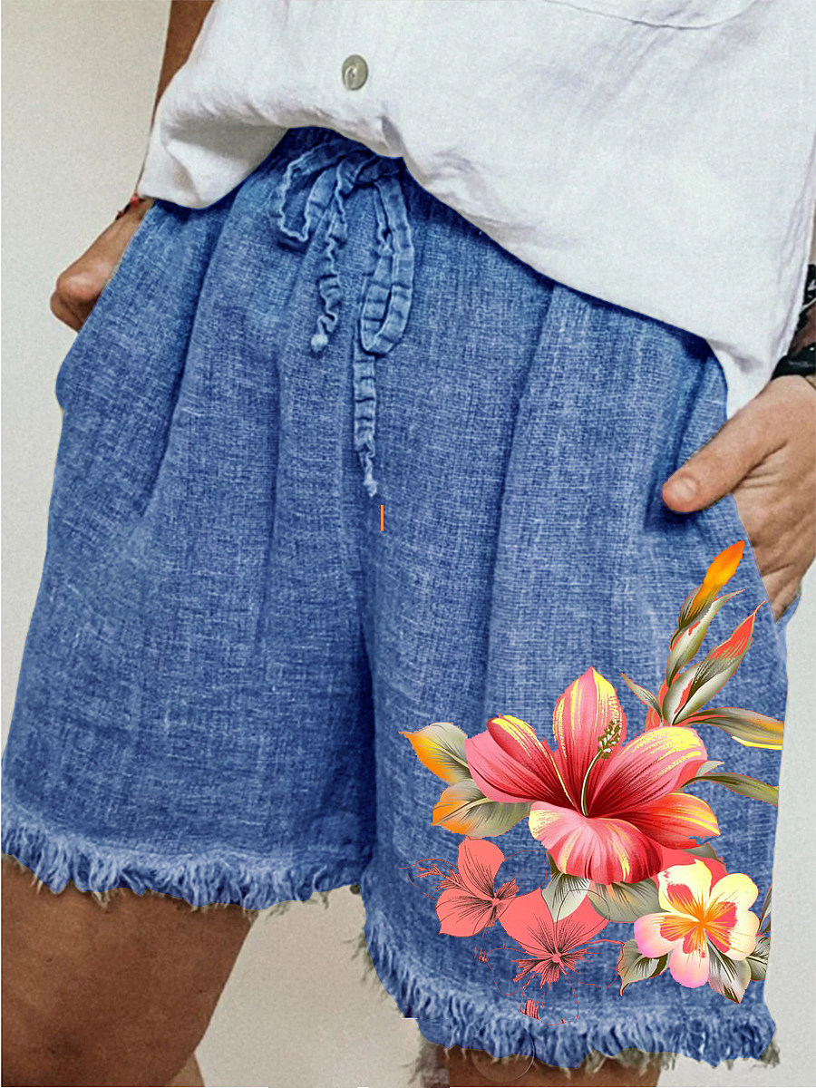 Casual cotton and linen lace-up printed wide-leg shorts