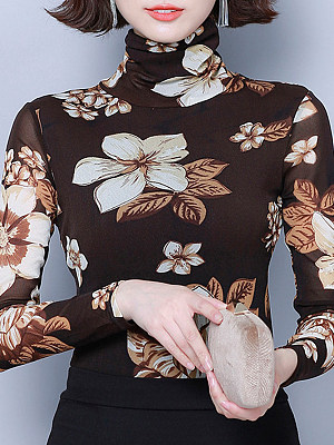 Heap Collar Elegant Printed Long Sleeve T-Shirt, 10710188
