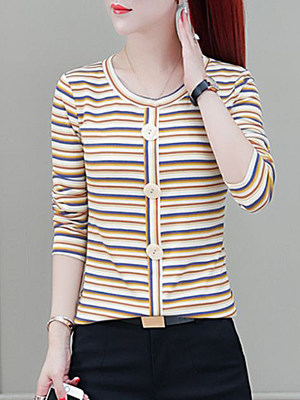 Round Neck Striped Long Sleeve T-shirt фото
