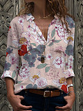 Turn Down Collar Floral Print Long Sleeve Blouse