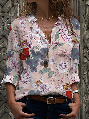 Turn Down Collar Floral Print Long Sleeve Blouse, 24528030