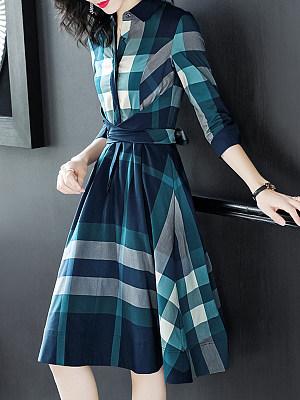 Round Neck Plaid Skater Dress, 10083850
