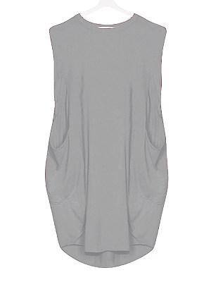 Round Neck Slit Pocket Plain Shift Dress, 11353125