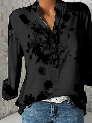 V Neck Loose Fitting Floral Printed Long Sleeve Blouse, 25339814