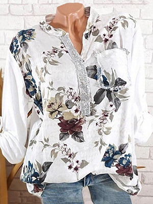 V Neck Button Floral Printed Blouse, 10761987