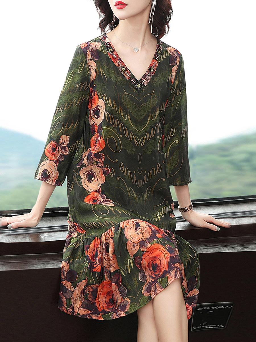 BerryLook Temperament flower color simulation silk dress spring new women's 3/4 sleeve mid-length loose v-neck dress