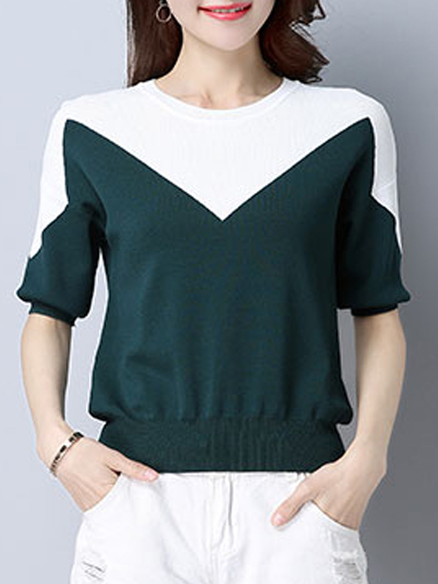 Round Neck Color Block Short Sleeve Knit Pullover