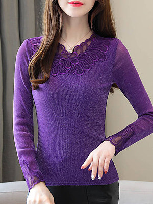 Fashion trend plus velvet thick long-sleeved lace female 2019 autumn and winter wear Korean version of the warm mesh gauze shirt shirt, 10063668