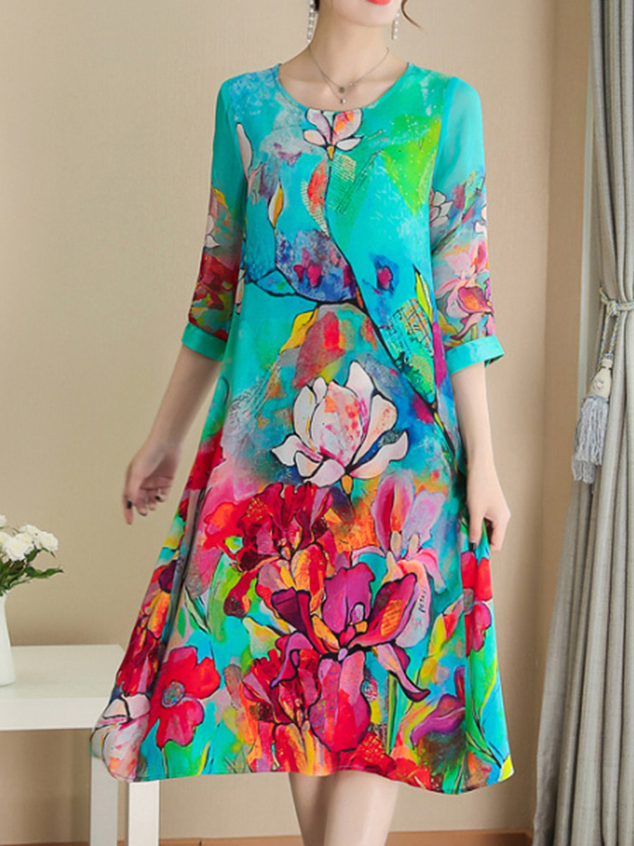 2020 spring and summer new European and American fashion printed silk dress women loose large size silk silk skirt