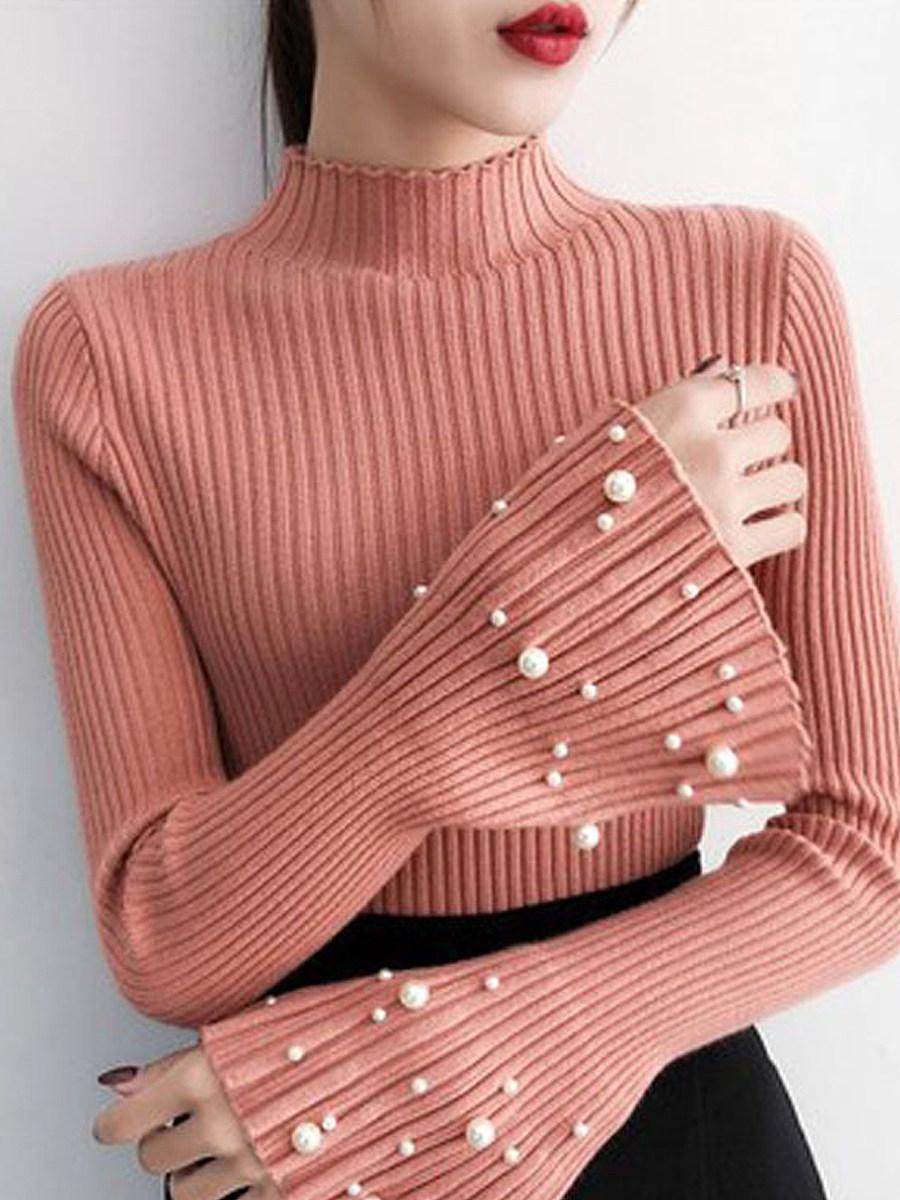 BerryLook Short High Collar  Elegant Beading Long Sleeve Knit Pullover