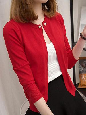 Round Neck Elegant Plain Long Sleeve Knit Cardigan, 10409176