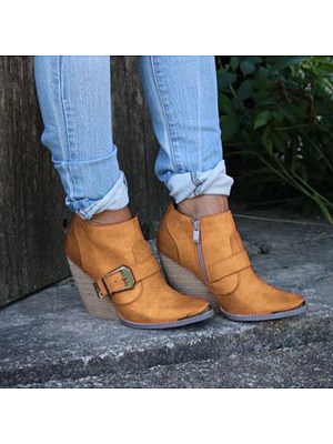 Women's casual solid color belt buckle decorative ankle boots, 10225810