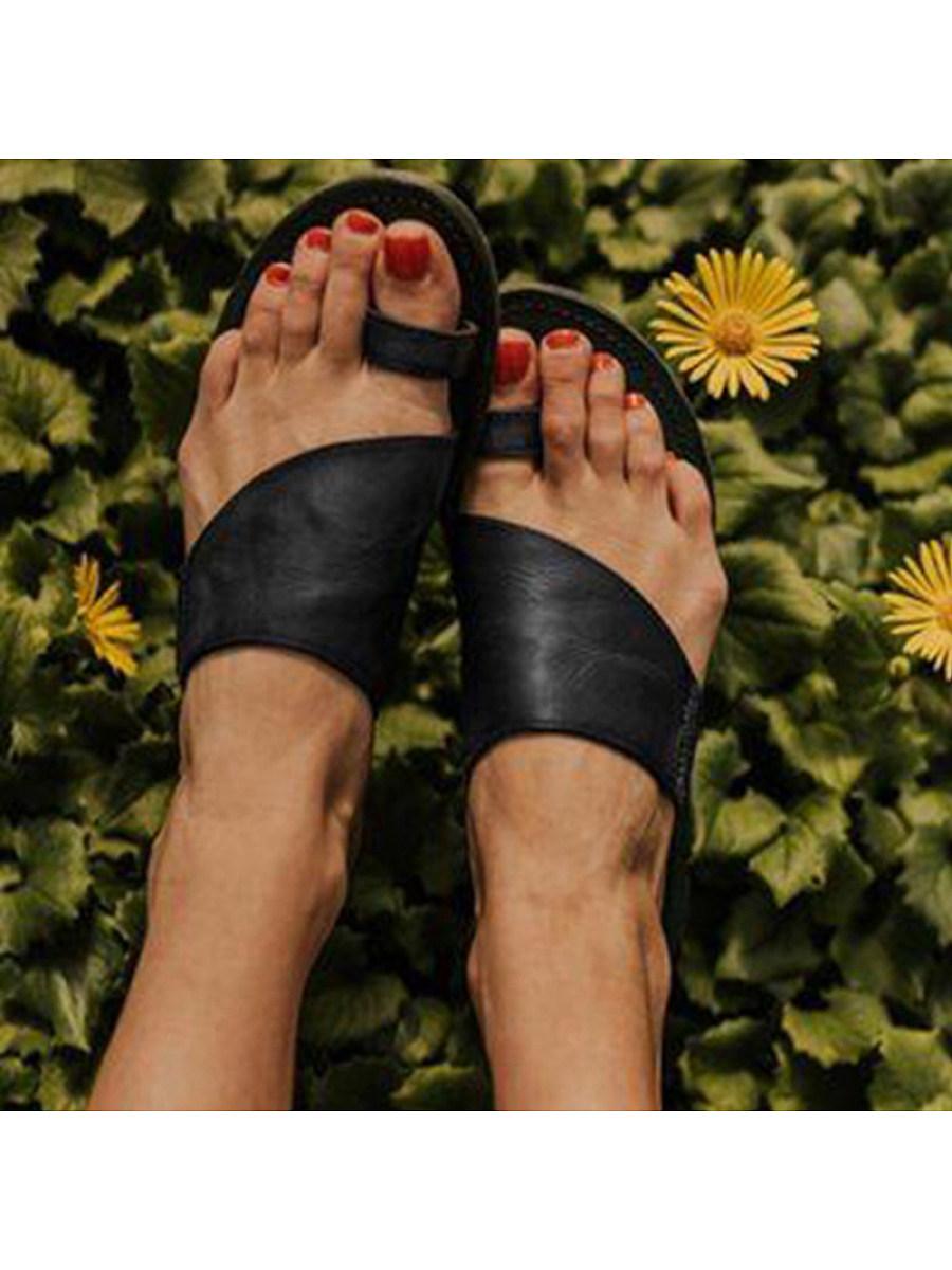 Women's casual open-toe flat slippers