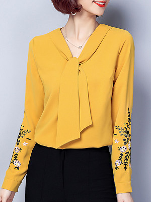 V Neck Vintage Embroidered Lace Long Sleeve Blouse, 10216087