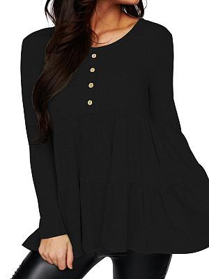 Round Neck Plain Long Sleeve T-shirt, 24834211