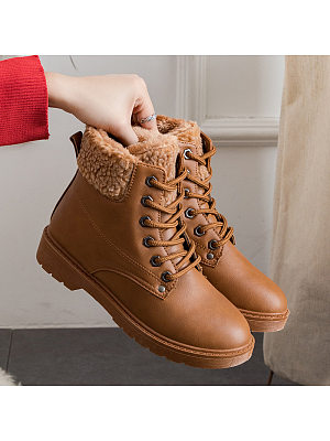 Women's Casual lace solid warm snow boots