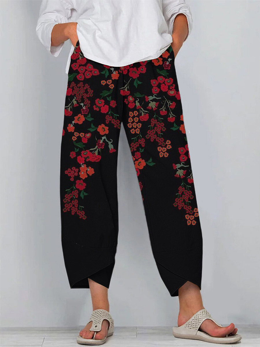 BerryLook Summer retro cotton and linen printed casual pants