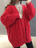 Image of Solid Color Long-Sleeved Thick Cardigan Knitted Jacket