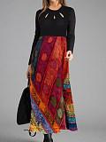 Image of Vintage Floral Tunic Round Neckline A-line Dress