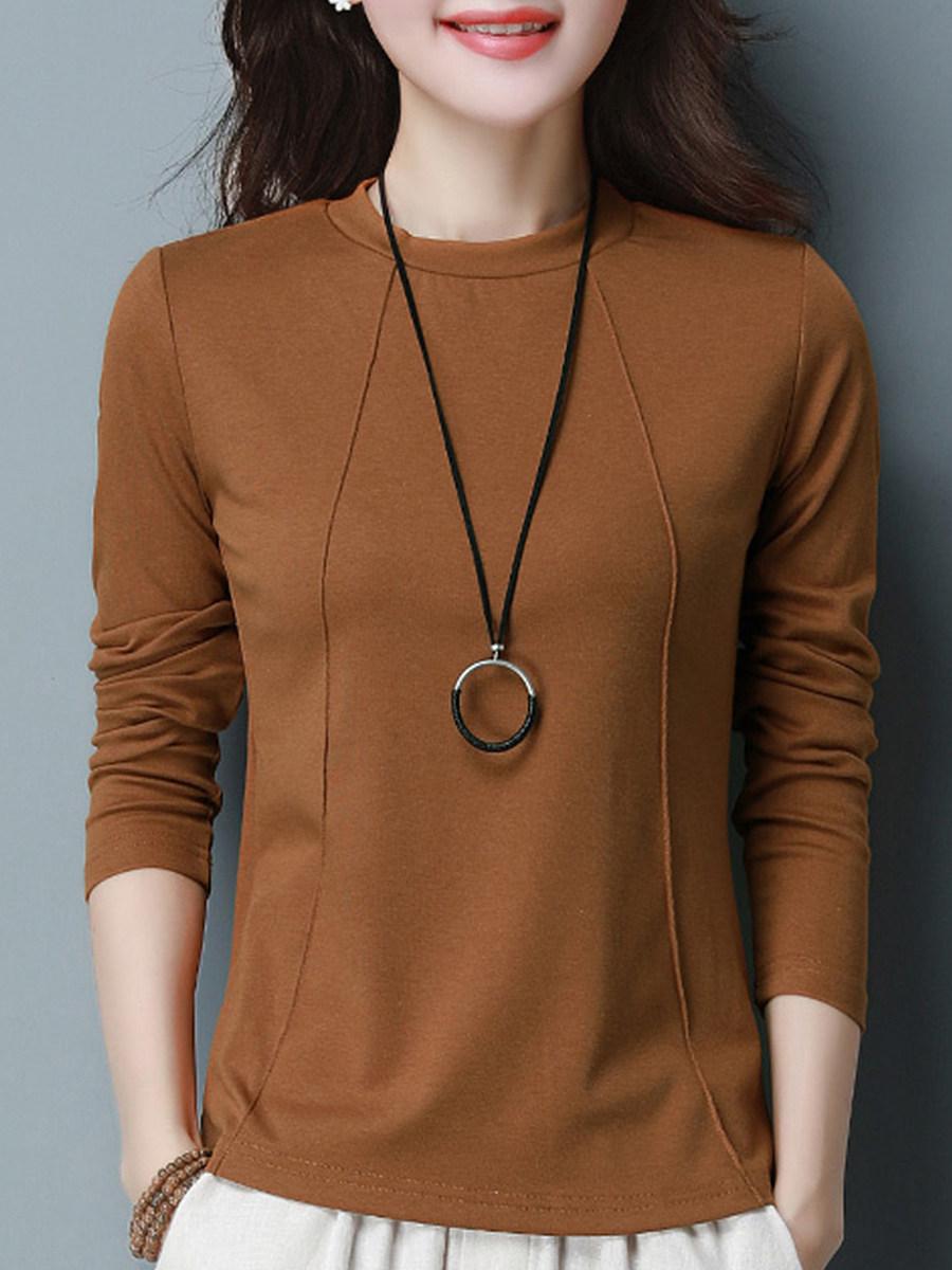 Round Neck Elegant Plain Long Sleeve T-Shirt - from $15.95