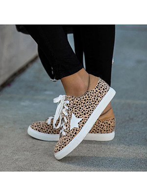 Women Fashion Animal Pattern Star Lace-up Sneakers, 11005548