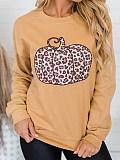 Image of Halloween Pumpkin Print Long Sleeve Round Neck Sweatshirt