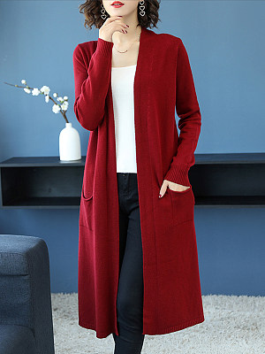 Plain Long Sleeve Knit Cardigan, 24711215