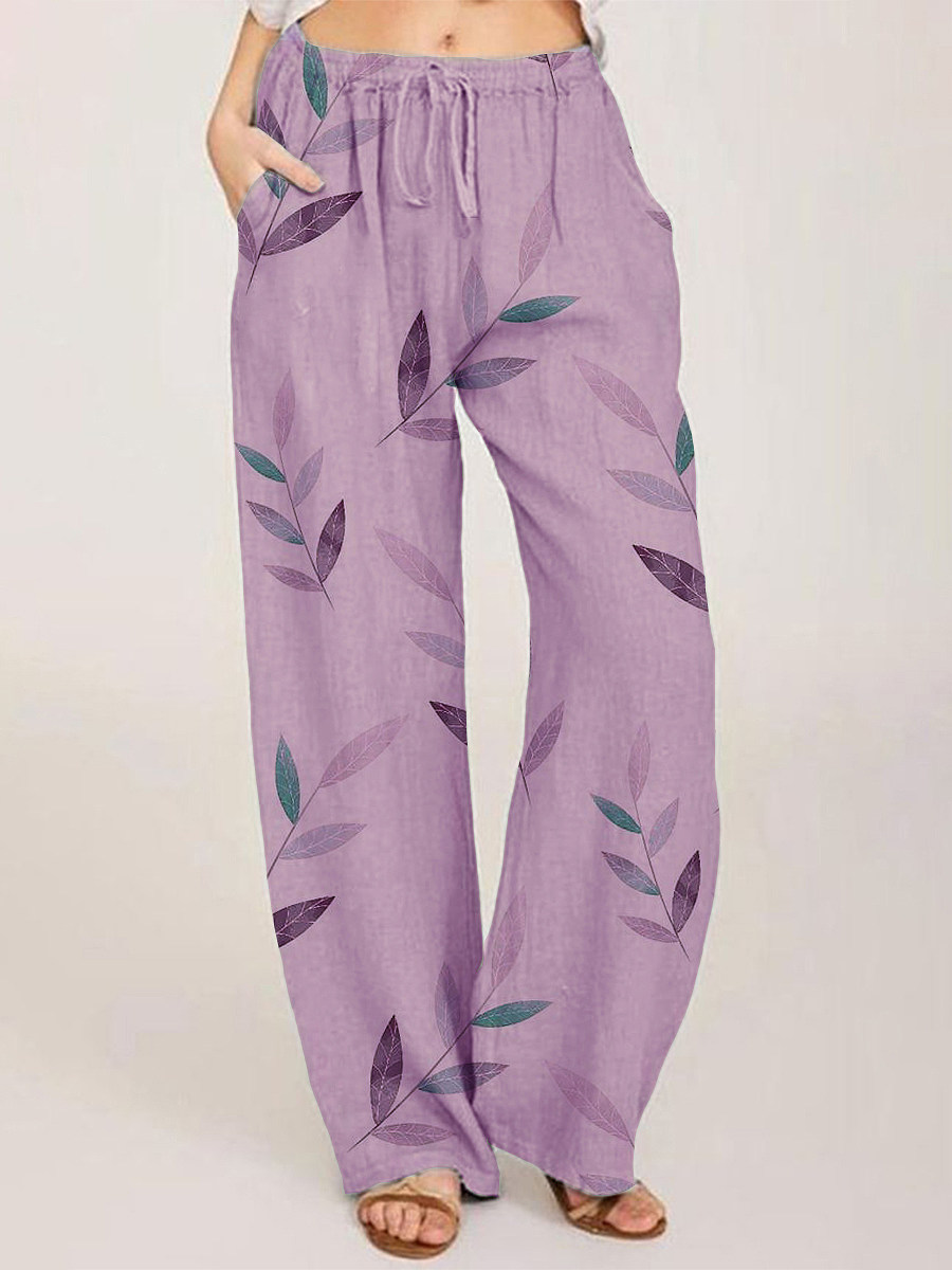 BerryLook Fashionable cotton and linen printed lace-up casual pants