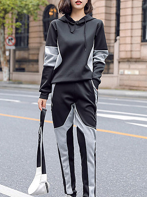 Casual Colouring Hooded Long Sleeve Suit