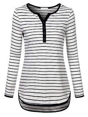 V Neck Striped Long Sleeve T-shirt, 11418178