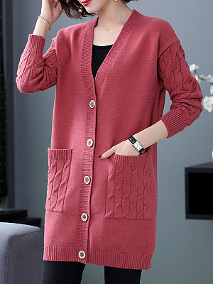 V Neck Plain Pockets Long Sleeve Knit Cardigan, 24567462