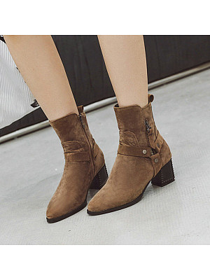 Fashion Women Pointed Toe Thick Heel Plain Boots, 10225385