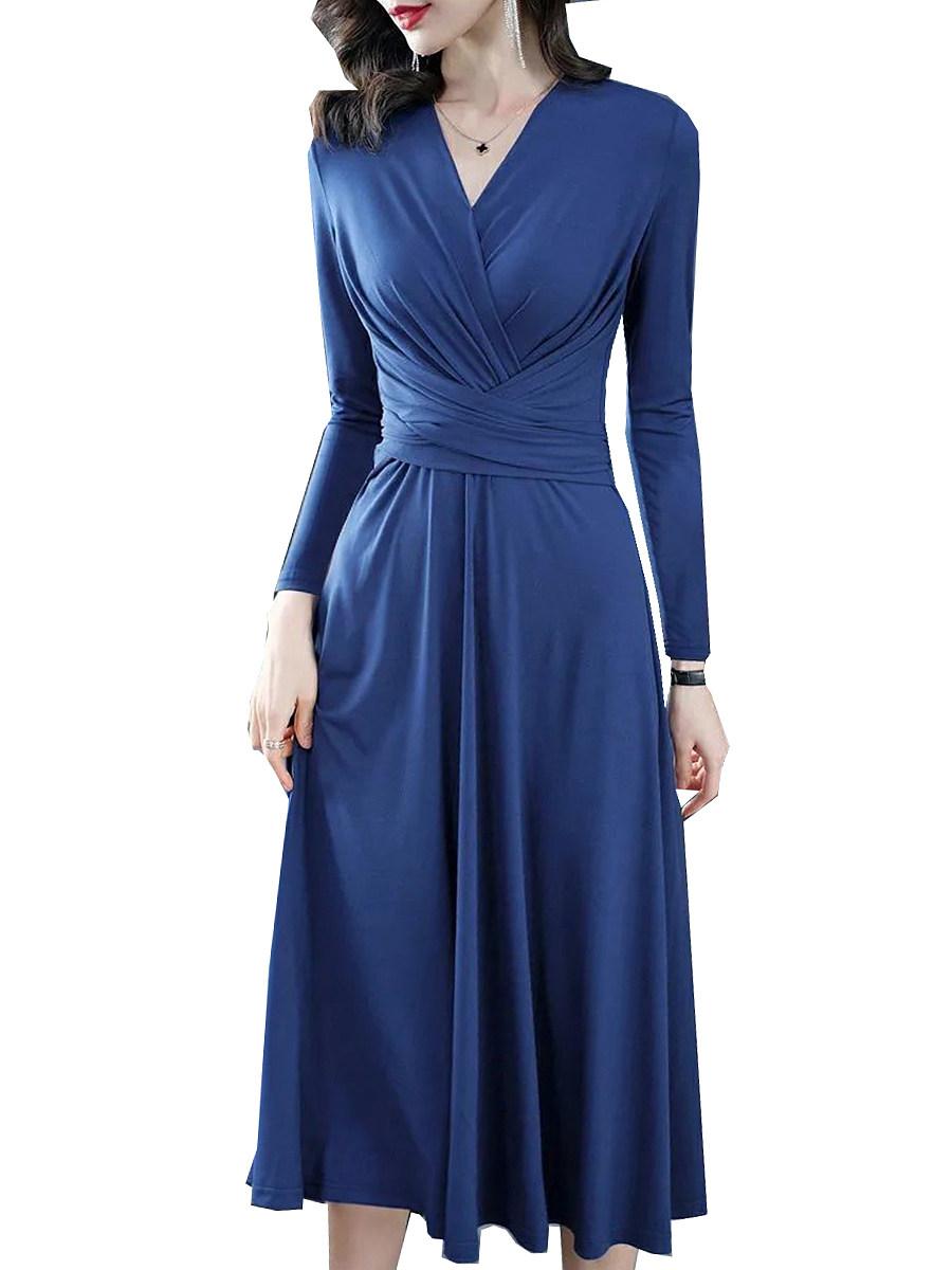 V-neck Long Sleeve Solid Color Waist Dress