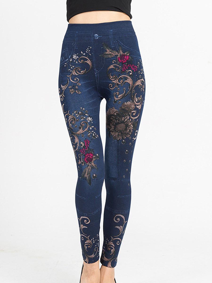 BerryLook Fashion imitation denim leggings printed high-elastic cropped pants