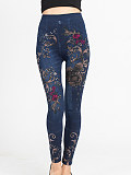 Image of Fashion imitation denim leggings printed high-elastic cropped pants
