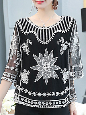 Round Neck Patchwork Vacation Short Sleeve Pullover, 11606368