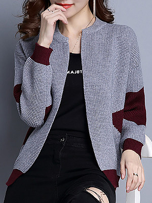 Round Neck Patchwork Long Sleeve Knit Cardigan, 10336181