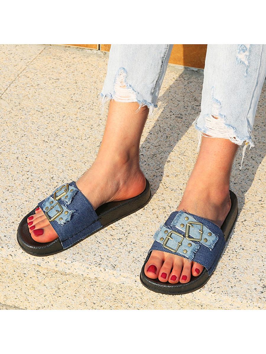 Women's flat denim slippers