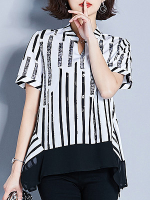 Women's V Neck Striped Short Sleeve Blouse, 11087608