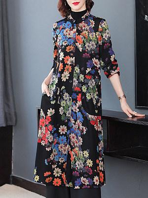 Fashion Print Long Coat, 11352616