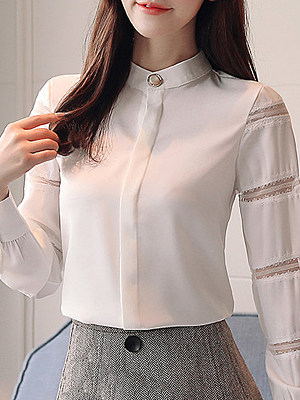 Band Collar Patchwork Plain Long Sleeve Blouse, 10164404