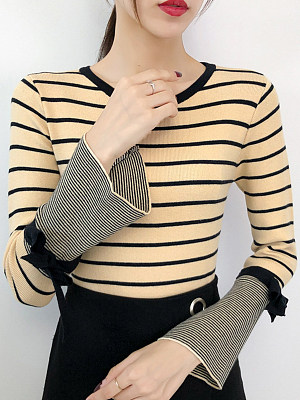 Round Neck Striped Long Sleeve Knit Pullover, 10521680