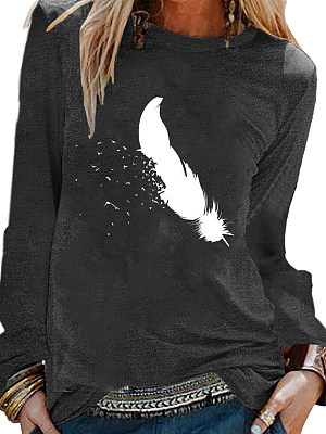Round Neck Feather Print Long Sleeve T-shirt