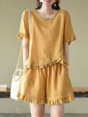 Summer Fashion Short-sleeved Casual Two-piece Cotton Suit