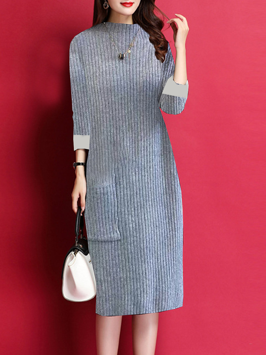 Women's casual solid color long-sleeved dress - from $24.95