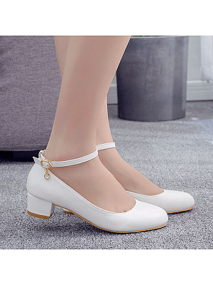 Comfortable square heel round shoes фото
