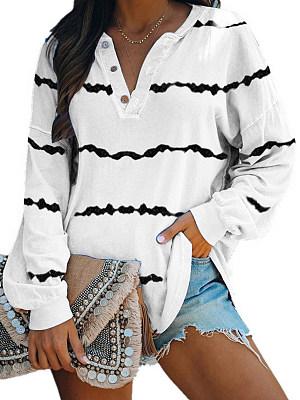 V Neck Striped Long Sleeve T-shirt, 25337627